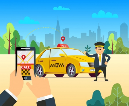 taxi application advertising smartphone car driver icons decor