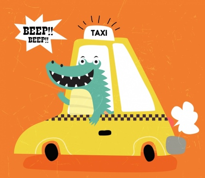 taxi background car stylized crocodile icon funny cartoon