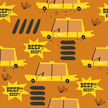 taxi background repeating yellow car icons flat design