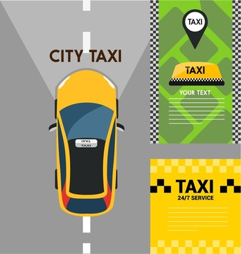 taxi concepts with various color styles illustration