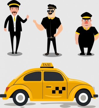 taxi design elements yellow car men icons