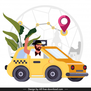 taxi job background man car positioning map sketch