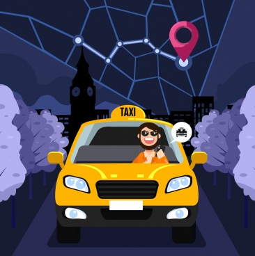 taxi job banner map car icons cartoon design