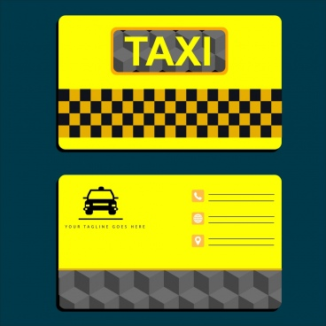 taxi name card template yellow design car icon