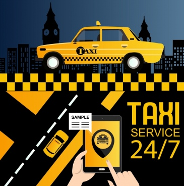 taxi service advertisement yellow car smartphone icons decor