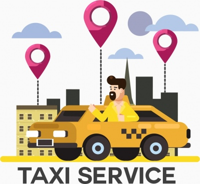 taxi service advertising banner car driver location elements