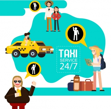 taxi service advertising banner tourist driver icons
