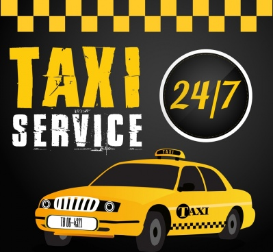 taxi service advertising car icon black yellow decor