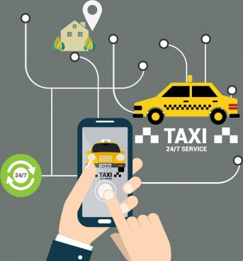 taxi service advertising smartphone car navigation icons