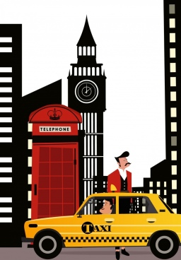 taxi service background uk landmark decor
