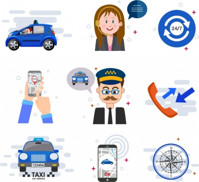 taxi service design elements car smartphone people icons