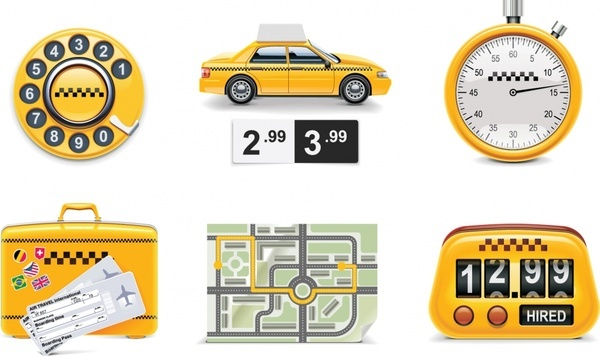 taxi service icons shiny colored symbols sketch