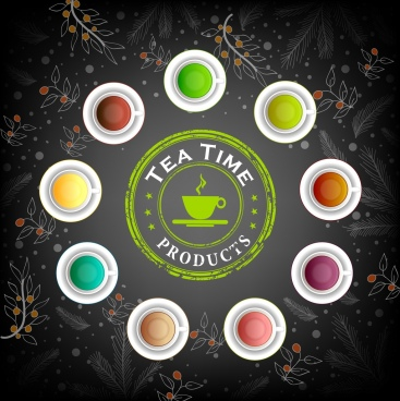 tea advertisement colorful beverage cups icon flowers backdrop