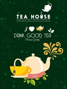 tea advertisement cup pot icons green leaves backdrop