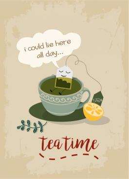 tea advertisement funny stylization cartoon design