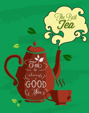 tea advertisement pot icon calligraphy decor
