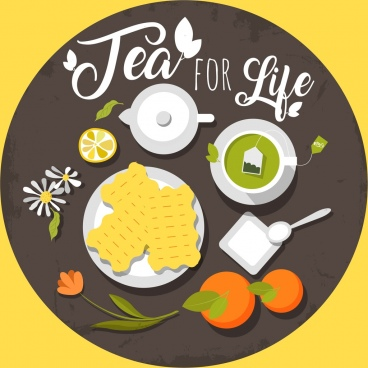 tea advertising fruit cup pot icons circle layout