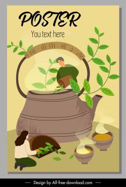 tea advertising poster huge pot cartoon sketch