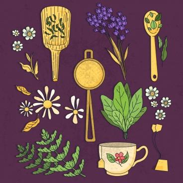tea art design elements cup flowers leaf icons