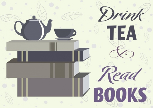 tea break banner book stack cup pot leaf icons