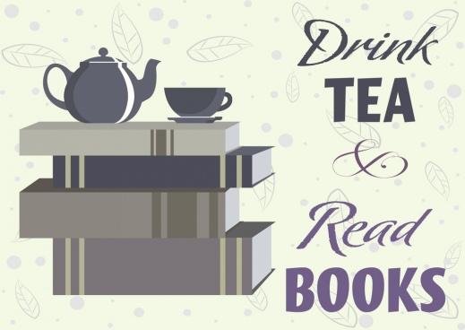 Tea break banner book stack cup pot leaf icons
