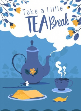 tea break banner cup pot flowers leaves decor