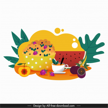 tea break icon colorful flat classic fruits decor