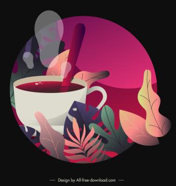 tea break painting colorful vintage decor circle isolation