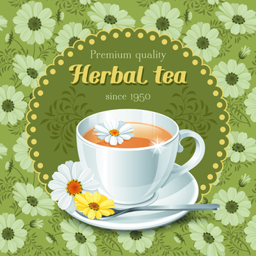 tea cup and elegant floral background vector