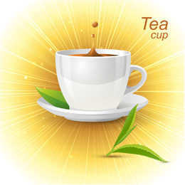 tea cup with glowing background vector