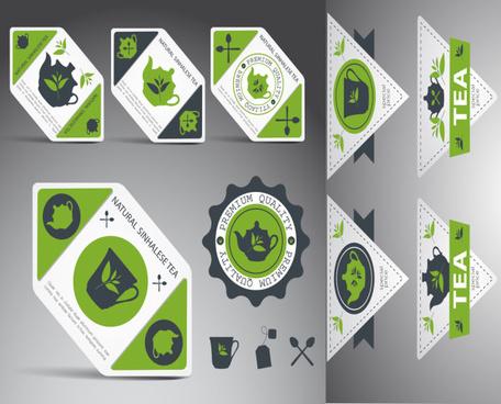 tea elements labels vector