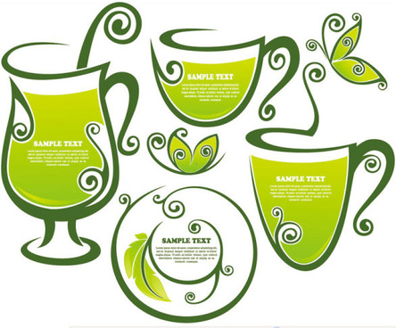 tea elements silhouettes vector