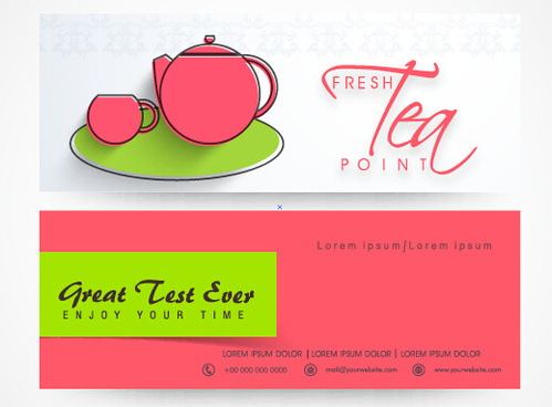 tea hand drawing banners vector
