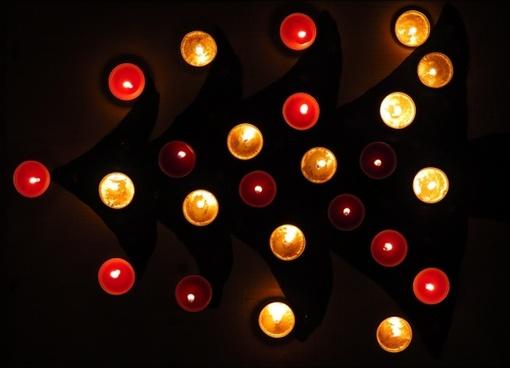 tea lights christmas tree christmas time