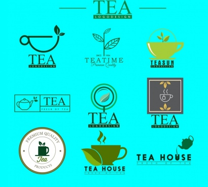 tea logotypes various colored flat design