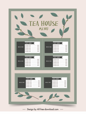 tea menu template classical leaves decor