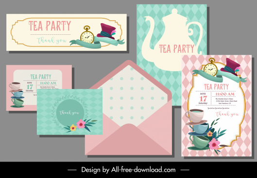 tea party card template pot cups sketch