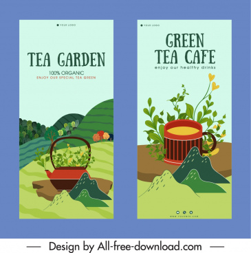 tea products advertising banner colorful classic plants decor