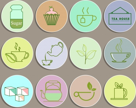 tea products design elements circles isolation green sketch