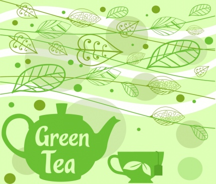 tea promotion banner cup pot blown leaves icons