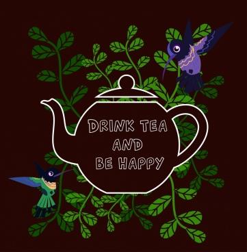 tea promotion banner pot birds green leaves decoration