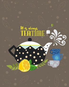 tea time banner classical design pot cup lemon icons
