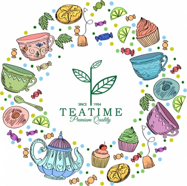 tea time banner colorful classical icons circle layout