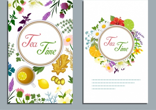 tea time banner flowers fruits icons colorful decor