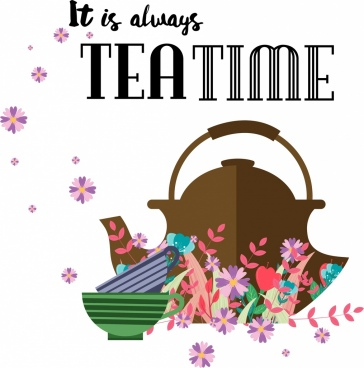 tea time banner pot cups flowers icons decor