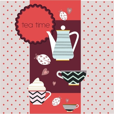 tea time concept design with pot and cups