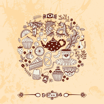 tea time design element vector background set