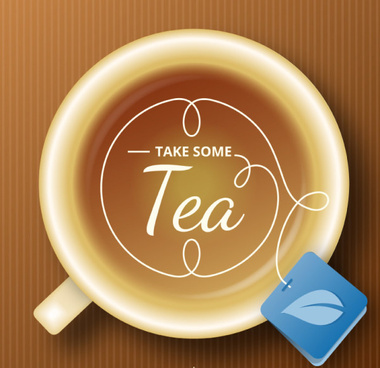 Tea With Tag Background Vector