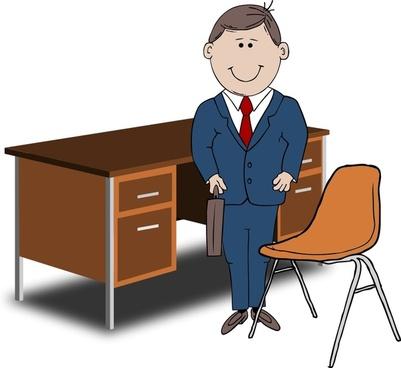 Teacher / Manager between chair and desk
