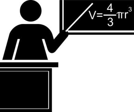 Teacher silhouette black and white with desk and blackboard
